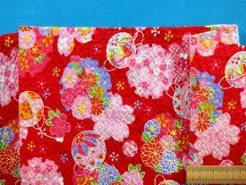 綿リップル生地花/まり赤×ピンク(110cm幅 2m)