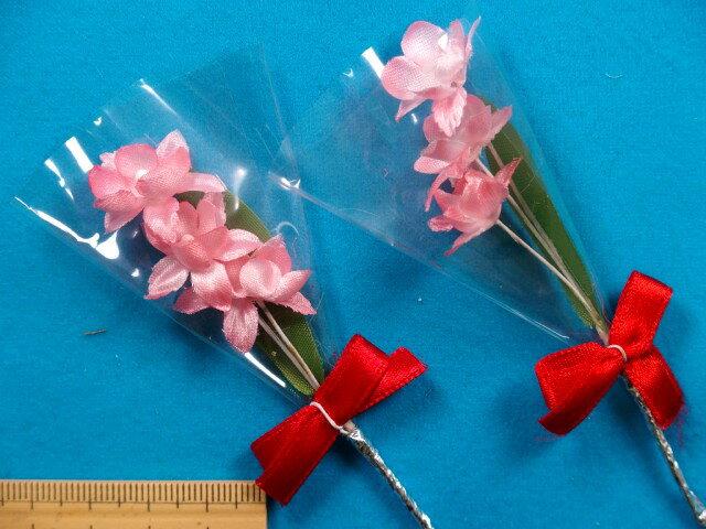 アートフラワー(造花)リボン付きピンク