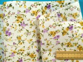 綿ローンプリント生地小花・オフ白×紫(110cm幅 2m)