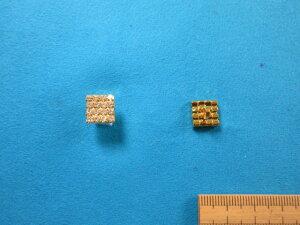 チェコガラスボタン(10mm)クリスタル×金