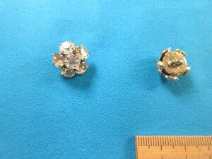 チェコガラスボタン(16mm)クリスタル×銀