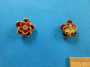 石入りガラスボタン(17mm)赤×金
