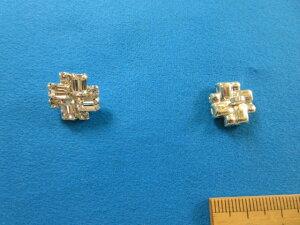 チェコガラスボタン(14mm)クリスタル×銀