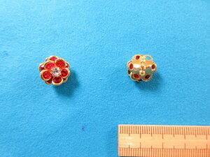 石入りガラスボタン(13mm)赤×金