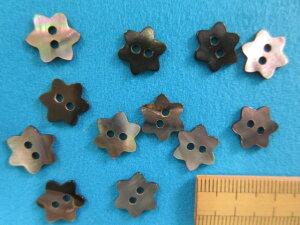 貝ボタン 花(11mm)黒
