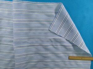 綿ポリドビー生地(ボーダー)水色(26cm幅 2m)