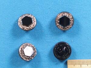 チェコガラスボタン(13mm)黒×渋銀