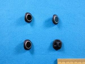 チェコガラスボタン(11mm)黒×銀