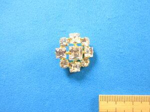 チェコガラスボタン(24mm)金×クリスタル