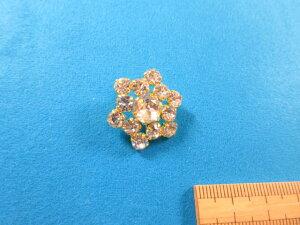 チェコガラスボタン(23mm)金×クリスタル