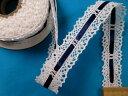 サテンリボン×綿トーションレース紺×オフ白(2.2cm幅 5m巻)
