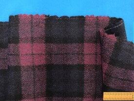 メルトンウールチェック生地紫系×紺(150cm幅 1.5m)