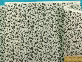 綿ローンプリント生地小花・薄アイボリー×グレー系(105cm幅 2m)