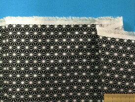 綿和柄プリントドビー生地麻の葉・黒×オフ白
