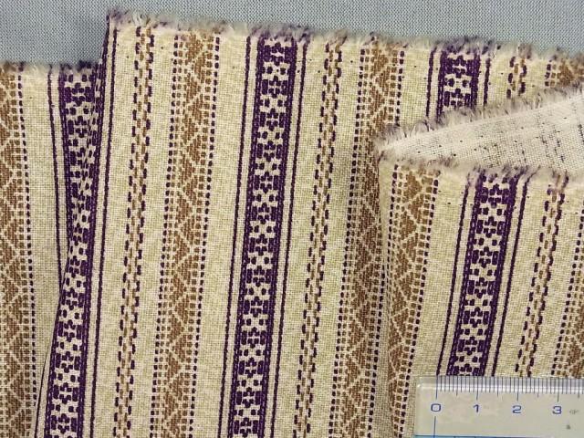 在庫処分・大幅値下げ綿麻プリント生地ベージュ×紫×茶