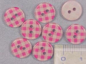 プリントボタン(チェック)ピンク×白