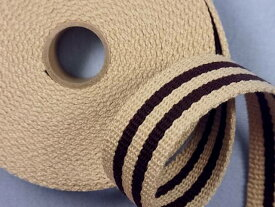アクリルバンド(ストライプ)ベージュ×コゲ茶(2.5cm幅 4m巻)