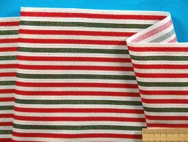綿プリント生地クリスマスストライプ・オフ白×赤×グリン×金(110cm幅 1m)