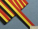 在庫処分・大幅値下げストライプグログランリボン黒×黄×赤