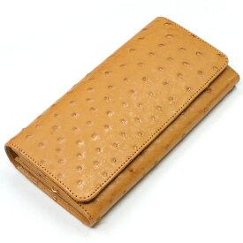 がま口 長財布 かぶせ収納型 オーストリッチ 駝鳥革 レザー 長札 日本製 口金 ガマ口財布 サイフ レディース財布 キャメル
