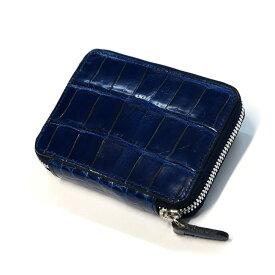 ラウンドファスナー カードケース メンズ レディース 本革 クロコダイル ワニ 鰐 グレージング 藍染