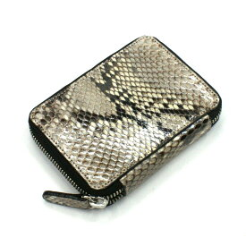 カード入れ 革 カードケース レザー 蛇革 パイソン 日本製 送料無料 ラウンド ファスナー レディース メンズ お札収納可 大容量 ヘビ ナチュラル 柄