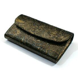 長財布 本革 ギャルソン 財布 ウォレット レディース 財布 オープンマチ付 大容量 ヘビ革 蛇革 パイソン 長札 サイフ さいふ 日本製 ペイズリー柄 ダークイエロー2