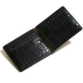 cb4e9a57928b 札ばさみ マネークリップ メンズ レディース 財布 折り財布 サイフ さいふ 薄型 クロコダイル革 鰐