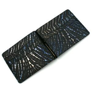 札ばさみ マネークリップ 財布 折り財布 サイフ さいふ メンズ レディース 薄型 蛇革 パイソン革 ヘビ革 無双仕様 カード収納 簡単収納 日本製 柄 ウェーブ ブラック