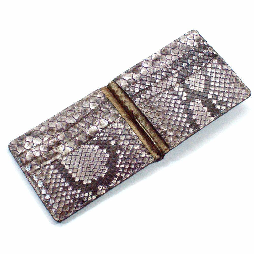 マネークリップ 財布 折り財布 薄型 カード収納 メンズ レディース 蛇革 パイソン革 ヘビ革 無双仕様 16F