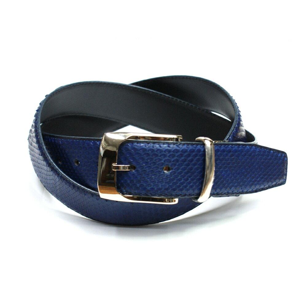 ベルト レザーベルト メンズベルト 蛇革 4cm幅 パイソン革 栃木レザー 牛革 ヘビ革 ベルト 日本製 藍染