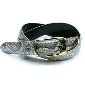 ベルト レザーベルト メンズベルト 蛇革 3.5cm幅 パイソン 栃木レザー 牛革 ヘビ革 日本製 銀 ハーフブリーチ シルバー