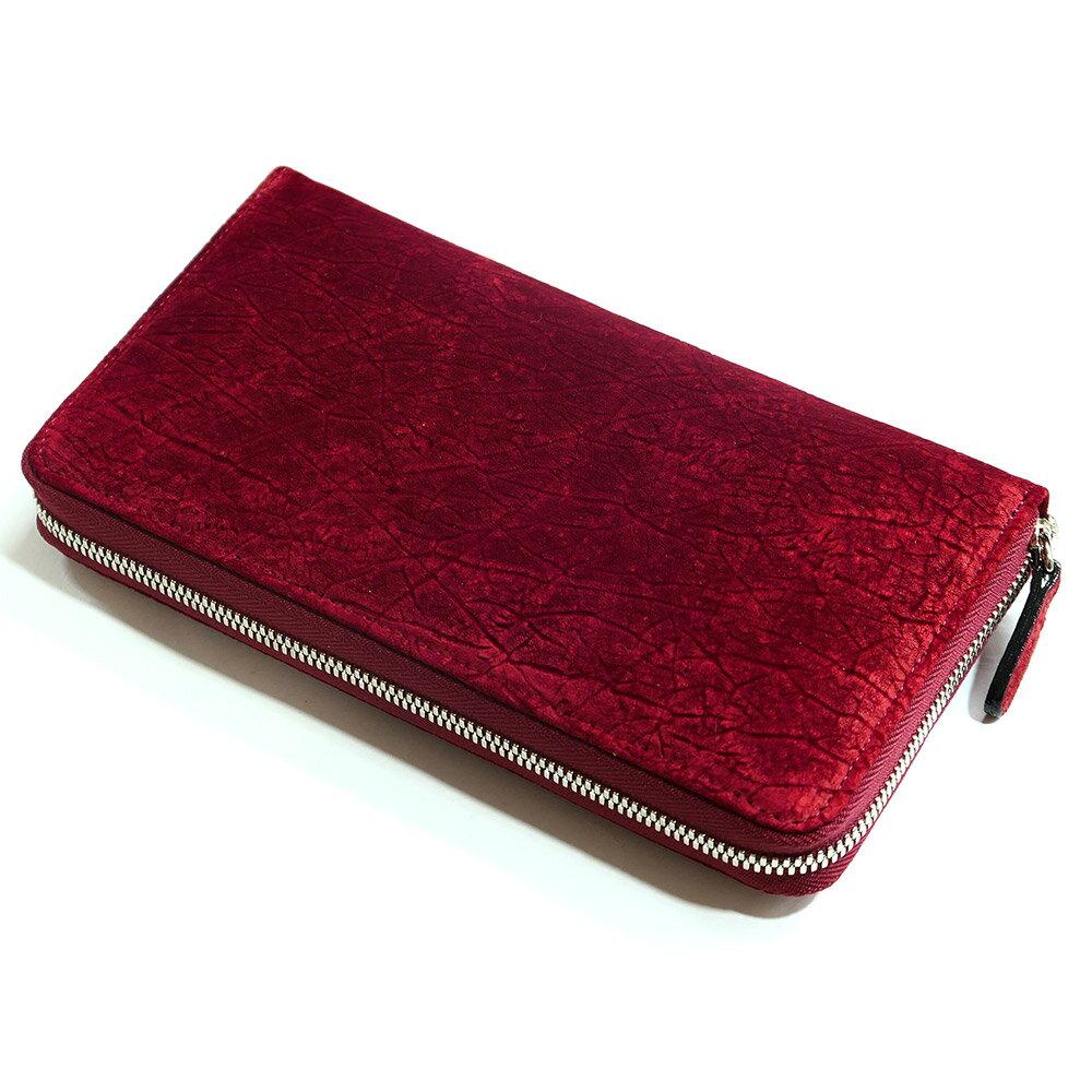 長財布 ラウンドファスナー メンズ レディース 財布 サイフさいふ 長札 大容量 ヒポポタマス カバ革 レッド 赤