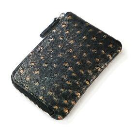 財布 L字 ラウンドファスナー財布 札入れ レディース財布 メンズ財布 薄型 コンパクト オーストリッチ 駝鳥革 レザー 革 サイフ ラグジュアリー レトロ