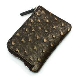 財布 L字 ラウンドファスナー財布 札入れ レディース財布 メンズ財布 薄型 コンパクト オーストリッチ 駝鳥革 レザー 革 サイフ ラグジュアリー