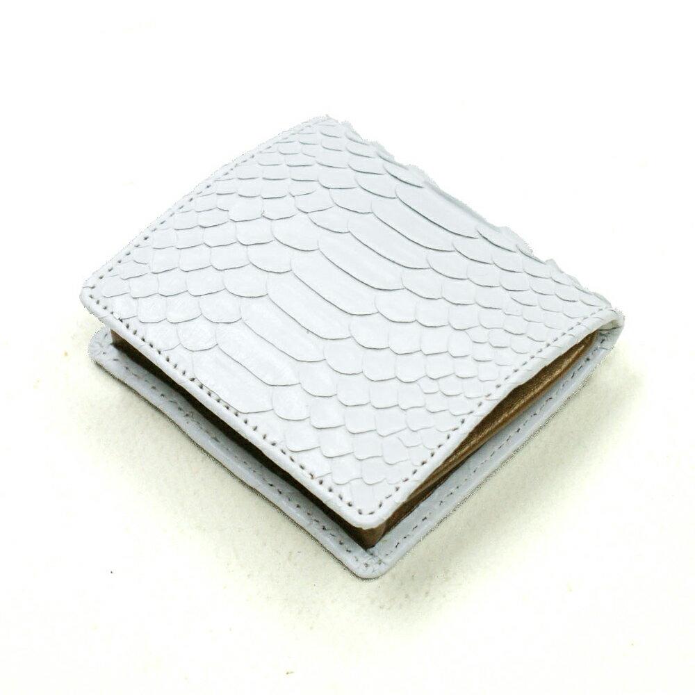 コインケース メンズ レディース 小銭入れ 蛇革 パイソン革 ヘビ革 小銭入れ ボックス型 薄型 コンパクト BOX型小銭入れ ギフト 日本製 ホワイト