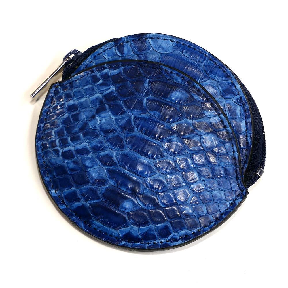 コインケース メンズ レディース 丸型 ファスナー 小銭入れ 本革 パイソン へび革 ヘビ革 薄型 コンパクト 革 レザー ギフト プレゼント 日本製 藍染 絞り