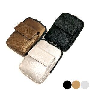 ベルトポーチ 革 メンズ 牛革 レザー ウエストポーチ 各色 ブラック ゴールド シルバー