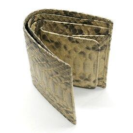パイソン 二つ折り財布 ボックス型 小銭入れ付 マット ベージュ