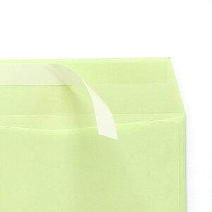 封筒 クラフトカラー封筒 長3 テープスチック ウグイス 85g ヨコ貼 枠入 100枚 nd4333
