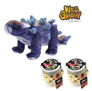 【当店でしか買えません】恐竜ボーロ 50g たまごボーロ(卵ボーロ)2個 & 恐竜 ぬいぐるみ WILD GRAPHY ワイルドグラフィ アンキロサウルス (M) SA008 (2種・3点セット) TST おもちゃ セット 子供 男