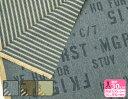 英字&ストライプのリバーシブル(10キャンバス両面プリント)両面セリサイト加工カーキ オリーブ ビンテージ American NumbersKOKKA【生地・布】IG20120-1