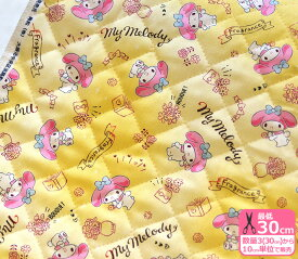 【キルト】マイメロディ/フレグランス(19MM-009R)ピンクのケープ姿 ブルーリボン 布地綿100%・中綿入り・105cm巾【生地・布】YUWA