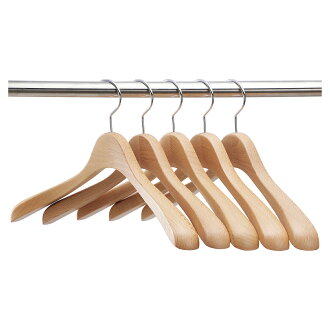 Wooden Jacket Hangers for Women / 5 Pieces / Natural / SET-03