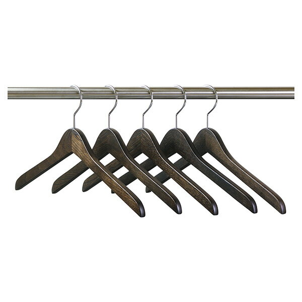 数量限定:SET-1006/木製メンズ・セン材シャツハンガー5本組/スモークブラウン
