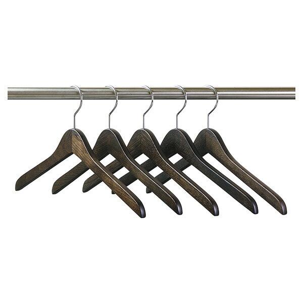 SET-1006/木製メンズ・セン材シャツハンガー5本組/スモークブラウン
