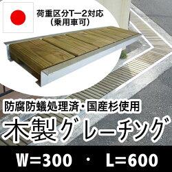木製グレーチング長さ約600mm・幅約300mm【ナチュラル仕上げ:保存処理木材仕様】【側溝蓋/溝蓋/蓋/グレーチング/カバー/U字側溝/溝カバー/国産/杉/天然木/ACQ/間伐材/木製】