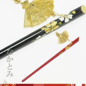 One grafting ornamental hairpin fan motif black / red