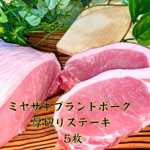 ミヤザキブランドポーク厚切りステーキ 5枚で約750g 赤身 送料無料 焼肉 トンカツ 九州産 豚 豚肉 お肉 国内産 ブタ ブタニク 豚ロース とんてき 豚ロースポークチャップ 豚ローストンテキ 豚