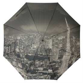 東京アート!東京の夜景をモノクロプリントジャンプ式傘東京傘 東京タワー 東京みやげ TOKYO 父の日 ギフトに